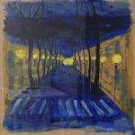 Noční ulice, cca 70 na 70cm, 2012, Kč 11.000,-